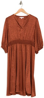 Sandra Darren Smocked Waist Animal Print Midi Dress
