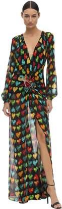 Versace LONG PRINTED SHEER GEORGETTE DRESS