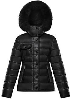 Moncler Girls' New Armoise Fur Trim Down Puffer Coat - Big Kid