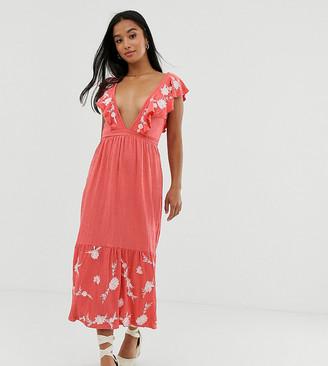 Asos DESIGN Petite midi embroidered sleeveless smock dress-Pink