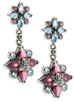 Stephen Dweck Toledo Rhodolite Garnet, Blue Topaz & Sterling Silver Flower Drop Earrings