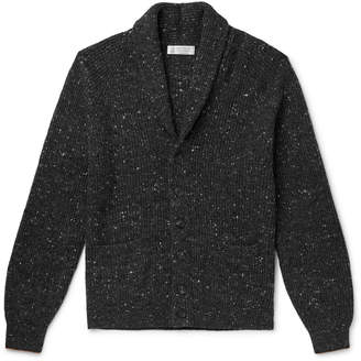 Brunello Cucinelli Shawl-Collar Melange Virgin Wool-Blend Cardigan