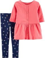 Carter's Baby Girl 2-Piece Button-Front Sateen Top & Floral Legging Set