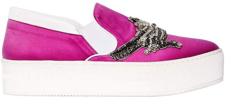 N°21 40mm Embellished Satin Slip-On Sneakers
