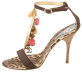 Just Cavalli Chain-Embellished T-Strap Sandals