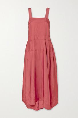Lee Mathews Edie Satin-twill Midi Dress - Brick