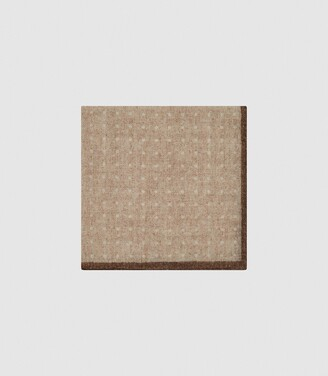 Reiss Naples - Wool Polka Dot Pocket Square in Oatmeal