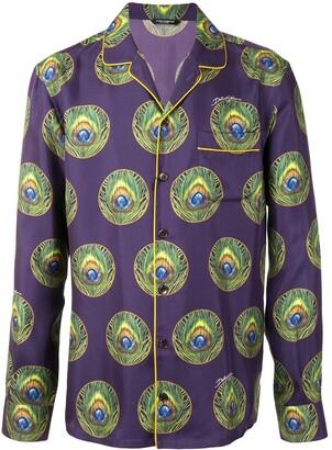 Dolce & Gabbana Peacock Print Pyjama Shirt