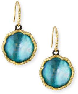 Armenta Old World 18k Scalloped Peruvian Opal Triplet Drop Earrings w/ Diamonds