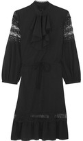 Anna Sui Ruffled Lace-trimmed Crepe De Chine Mini Dress - Black