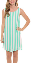 Mint Stripe Bow-Back Shift Dress