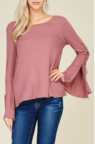 Papermoon Lace Up Bell Sleeve Top