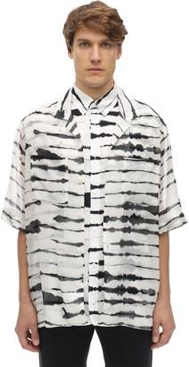 Burberry Oversized Layered Printed Silk Shirt