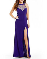 B. Darlin High-Neck Crystal Beaded Illusion-Yoke Open-Back Long Dress