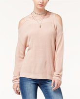 Hooked Up by IOT Juniors' Knit Cold-Shoulder Sweater