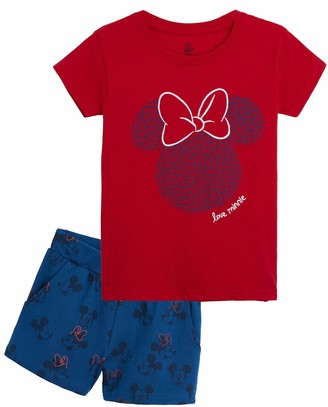 Disney Minnie Mouse Girls Pyjamas 2 Piece Girls Short Pyjamas Official Minnie Mouse Character Girls Pjs with Short Sleeve Top and Shorts