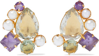 Bounkit 14-karat Gold-plated, Amethyst And Pearl Earrings