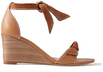 Alexandre Birman Clarita Demi Bow-embellished Leather And Suede Wedge Sandals