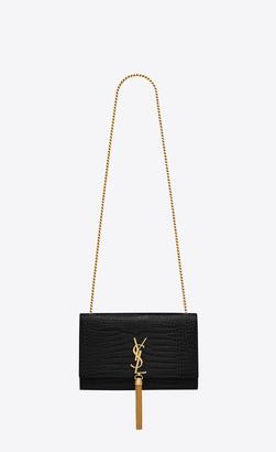 Saint Laurent Monogram Kate With Tassel Medium Kate Tassel Chain Bag In Black Crocodile Embossed Leather Black Onesize