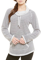 Calvin Klein Cowl Neck Roll Sleeve Stripe Fleece Knit Tunic