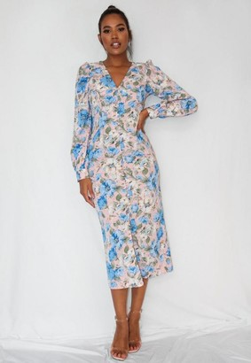 Missguided Petite Blue Floral Print Button Detail Midi Dress