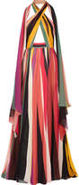 Elie Saab Striped Silk-blend Georgette Halterneck Gown - FR40