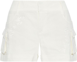 Alice + Olivia Cady Embroidered Gauze Shorts