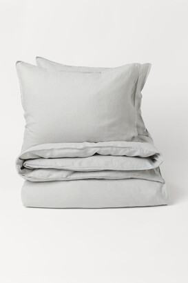H&M Washed Linen Duvet Cover Set - Gray