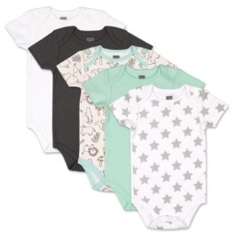 The Peanut Shell The Baby Boys and Girls Safari 5 Pack Short Sleeve Bodysuits