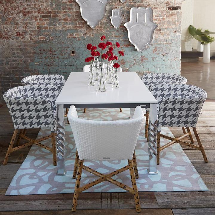 Crate & Barrel Mallorca Rectangular White Top Dining Table