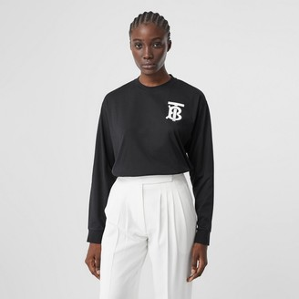 Burberry Long-sleeve Monogram Motif Cotton Top