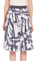 Peserico Pleated Abstract-Print Skirt