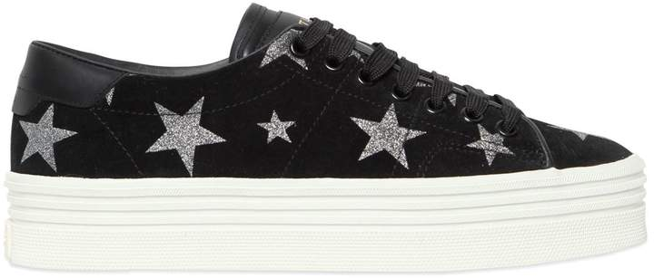 Saint Laurent 40mm Court Classic Stars Suede Sneakers