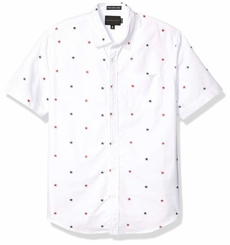 Sean John Men's Short Sleeve Printed Button Down Shirt