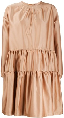 No.21 Flared Satin Ruched Dress