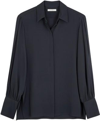 The Row Oni navy silk blouse