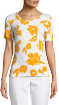 St. John Outlined Painted Floral Jersey Top