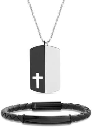 REINFORCEMENTS Stainless Steel Two-Tone Prayer/Cross Dogtag Necklace & Braided Leather Bracelet Set