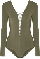Alexander Wang Lace-up Stretch-modal Jersey Bodysuit - Army green
