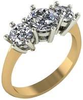 Moissanite 9 Carat Gold 2 Carat Trilogy Ring