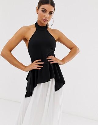 Asos Design DESIGN halter pleated colourblock maxi dress-Multi