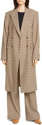 Nanushka Greta Double Breasted Houndstooth Tweed Coat