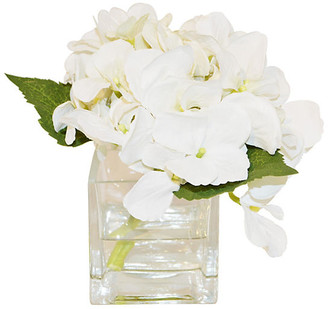 """6"""" Hydrangea in Cube - Faux - The French Bee - arrangement, white; vessel, clear"""