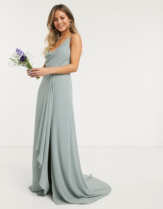 TFNC bridesmaid cowl neck cami strap maxi dress with train in sage