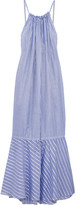 Three Graces London - Cassius Striped Cotton Maxi Dress - Blue
