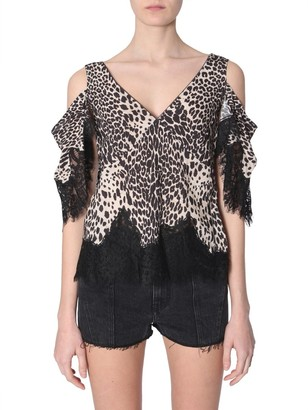 McQ Printed Lace-Detail Blouse