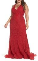 Mac Duggal Plus Size Women's Macduggal Lace Halter Dress