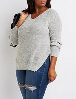 Charlotte Russe Plus Size V-Neck High-Low Sweater