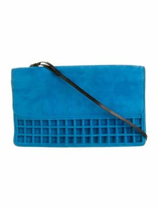Dries Van Noten Suede Shoulder Bag Blue