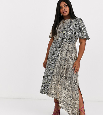 Glamorous Curve asymmetric midaxi dress in animal print mix